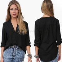 Wholesale Puff Sleeved Blouse - 2016 New Women Blouse Female Temperament Casual Long Sleeved V-neck shirt Chiffon Shirt Splice Irregular Plus Size: M-6XL newsale0005