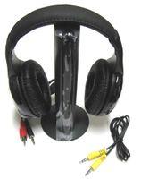 free mp3 mp4 achat en gros de-Vente chaude 5 en 1 Salut-Fi Sans Fil Écouteur Casque Pour Radio FM MP3 CD PC TV Livraison Gratuite