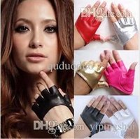 Wholesale Ladies Leather Half Gloves - Fashion PU Half Finger Lady Leather Lady's Fingerless Driving Show Jazz Gloves for Women Men Free Shipping