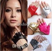 parmaksız sürme eldivenleri toptan satış-Moda PU Yarım Parmak Lady Deri bayan Parmaksız Sürüş Gösterisi Caz Eldiven Kadın Erkek Ücretsiz Kargo