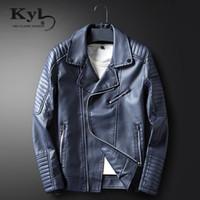 Wholesale Jacket Leather Men Korea - Wholesale- Zipper Leather Jacket Men 2017 New Autumn&Spring Slim Fit Korea Punk Coat Casual Outwear Top Casaco Moto pu jackets BSGD1713