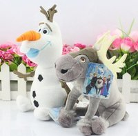 Wholesale Cartoon Movie Olaf and Sven snowman Milu deer Kristoff friend Sven Plush toy stuffed doll for kids gift DHL Free