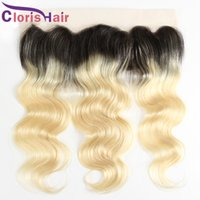 Wholesale indian virgin front closure resale online - Blonde Ombre Full Lace Frontal x4 Body Wave Virgin Brazilian Human Hair Top Closures Cheap Dark Roots B Wavy Front Lace Closure