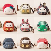 Wholesale Wholesale Flower Frogs - Children cartoon purse kids cute rabbit frog cow plaid canvas casual bag fashion girls stereo bunny ears flowers coins bag R1479