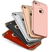 Wholesale Hybrid Combo - 3 in 1 Combo Hybrid Case Matte Slim ShockProof Hard Plastic Shell Back Cover Armor Case For iPhone 7 Plus 6 6S 5S Samsung S7 S6 edge Plus