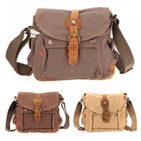 Wholesale Men Canvas Vintage Leather Messenger - Ship from USA! Men's Vintage Canvas Leather Satchel SchoolShoulder Backpacks Messenger Bag Outdoor Bags outdoor backpack