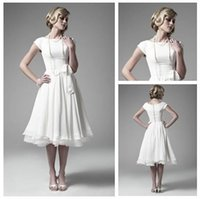 Wholesale Satin Bow Stocking - 2015 in stock White Chiffon ankle Length Short Sleeve Wedding Dresses Bridal Gowns Beautiful bridesmaid dresses cheap price free shipping