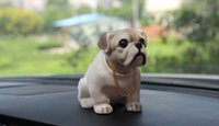 Wholesale Nodding Dogs - 2015 Cute Doll Nods Car Decoration Bulldog Resin With A Bobble Head Herding dog Car Styling Pitbull Dog Simulation Animal