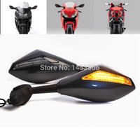 Wholesale Suzuki Hayabusa Mirrors - Motorcycle Carbon LED Turn Signals Integrated Rearview Mirrors For Suzuki GSXR SV650S SV650 Hayabusa Bandit order<$18no track