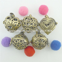 Wholesale Oval Brass Lockets - 5PCS MIX Wholesale Bronze Copper Hollow Beauty Love Heart Oval Locket Perfume Fragrance Essential Oil Aromatherapy Diffuser