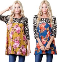 red leopard sleeve shirt Canada - Women Casual Leopard and Roses Pattern Contrast Blouse 3 Quaters Sleeves Round Neck Loose Shirt Dress