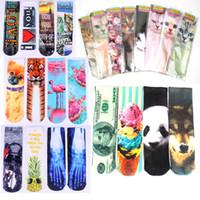 Wholesale Adult Cat Slippers - Prettybaby women 3D printing socks 30 cm tube sox cats harajuku animal food digital print cotton adult woman knee high socks Pt0273-1#