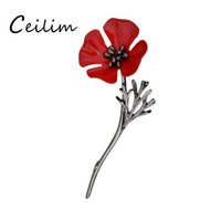 Wholesale Wedding Corsage Man - Designer Jewelry Vintage Red Poppy Flower Scarf Brooches Pin Collar Corsage Gold Black Color Pins For Women Shirt Badge Men Suit Accessories
