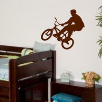 Wholesale Cartoon Wall Stencils - LARGE BMX CHILDREN BEDROOM WALL MURAL TRANSFER ART POSTER STENCIL STICKER DECAL WALL STICKERS for KIDS ROOM Size 55*60CM