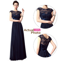 Wholesale Lace Bride Bridesmaids - In Stock 2015 Navy Blue Lace Bridesmaid Dresses Cheap Sheer Neck Sash Short Sleeve Vintage Evening Gowns Prom Mother of the Bride Dresses