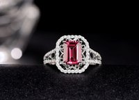 Spedizione gratuita Solid 14K White Gold Natural Pink Tourmaline Fidanzamento Diamonds Wedding Ring (R0076)