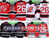 Wholesale Nj Hockey Jersey - Factory Outlet, Men's New Jersey Devils Ice Hockey Jersey #26 Patrik Elias Jersey Red White Black A Patch Cheap Stitched NJ Devils Jerseys C