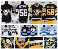 Wholesale Authentic Jersey 58 - 2016 New, Pittsburgh Penguins Jerseys #58 Kris Letang Jersey Penguins Blue Winter Classic Black White Authentic Kris Letang Hockey Jer