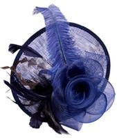 ingrosso piume top da donna cappelli-Fascinator top hat donna lady piuma di lino fiore cappello tappo skullcap matrimonio fantasia festa festivo cappelli top regalo fascino headwear capelli jewely