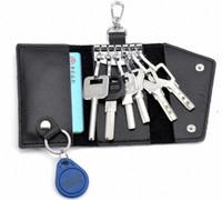 bagues en acier inoxydable achat en gros de-Porte-clés en cuir de luxe porte-monnaie sacs hommes femmes porte-clés en acier inoxydable portable Porte-clés porte-clés porte-clés change sac pochette