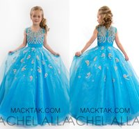 Wholesale Luxurious Pageant Dresses - F186 Crystals Sheer Neck Ball Gown Organza Flower Girl Dresses Luxurious Pageant Girl Dresses Stunning Dresses For Pageant