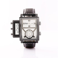 Wholesale Leather Oversized Men Watch - Oulm 3580 Stainless Steel Quartz Movement Watch Cool Oversized Men Two Analogue Clocks With Digital Display WristWatch