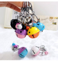 Wholesale Metal Bell Charms - hot sale Korean creative metal candy color bell key holder female handmade DIY phone shell accessories couple bag pendant