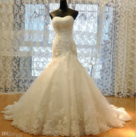 Wholesale Top Best Ball Gown - New Arrival Hot Sale Real Made Princess Lace Mermaid Wedding Dresses 2015 Appliques W1421 Long Bridal Gowns Modern Best Quality Stunning Top