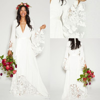 Wholesale Champagne Chiffon Dresses Sleeves - 2018 Simple Bohemian Beach Wedding Dresses Country Long Sleeves Deep V Neck Floor Length Summer Boho Hippie Western Bridal Wedding Gown