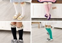 Wholesale High Top Boots For Girls - girls lace top socks kids stockings girls knee boot high socks with lace cotton socks for children autumn socks solid color socks in stock