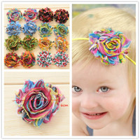 Wholesale Rainbow Flower Bow - 80pcs shabby chiffon rosette baby flower Rainbow Swirl Printed chiffon flower DIY flower girls hair accessory