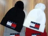 Wholesale Christmas Straws Paper - New Arrival Unisex Autumn Winter brand Tommy Winter cap men Knitted hat Fur Poms Beanie pom-pom skull caps hats women Gorro Bonnet wholesale