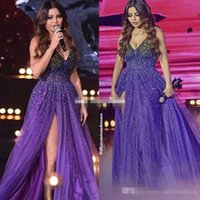 Wholesale Spaghetti Strap Dress Shining - Shining Purple Beaded Sequins Prom Dresses Spaghetti Straps 2018 A Line Side Split Tulle Formal Pageant Gown Evening Occasion Dresses Custom