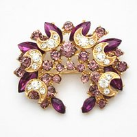Wholesale cheap scarves china - Fancy Gold Tone Lovely Wedding Bridal Purple Crystals Women Brooch Cheap Wholesale Good Qaulity Guarantee!!Lady Scarf Buckle Pins