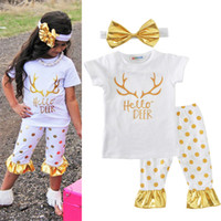 Wholesale Deer Bow Shirt - Infant Baby Girls Xmas Deer Letter gold dot T-shirt tops & polka Pants Half Tights & Gold Bow Headbands 3pcs Baby Outfits Set White A7853