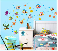 Wholesale Fish Poster - Marine Life under the Sea Wall Decal Stickers Decor Tropical Fish Bath Room Wallpaper Art Poster