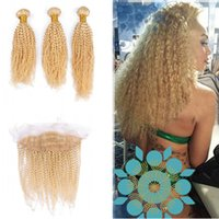Blench Blonde Ear Ear To Ear Frontal With Afro Curly Human Hair Weaves Russian Blonde 613 Kinky Curly Hair 3Bundles With Lace Frontal