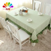 Wholesale Toalha Mesa - TLFE Home & Garden Pastoral Crochet Party Tablecloth Decor Green Plaid Coffee Table Cover Cloth Rectangular toalha de mesa ZB016