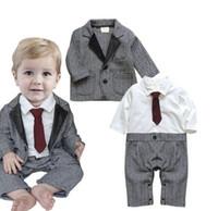 Wholesale Boys Romper Bow Tie - Ins Baby Boys Suit 2Sets 2017 New Winter Long Sleeve Bow Tie Romper Jacket 2Sets YAN-811