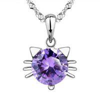 пурпурные бриллиантовые подвески оптовых-Мода стерлингового серебра 925 CZ Алмаз Белый Фиолетовый милый кот ожерелье кулон Кристалл старинные женщины ювелирные изделия Рождественский подарок DZ842