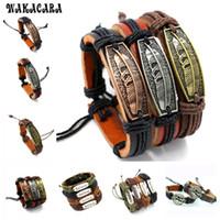 Wholesale Gift Set Food - WAKACARA 4styles 12colors Braided Adjustable Leather Bracelet Cuff Women Men`s Casual Charm Jewelry Bracelet