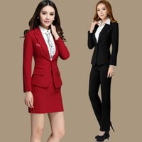 Wholesale Long Sleeve Professional Clothing - Formal Women Suit with Skirt Shirt for Office Ladies Business Suit Red Black Gray Professional Work Wear Clothes