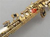 gerade sopran-saxophon großhandel-Neue YANAGISAWA S-9930 B flache Sopransaxophon-Versilberung und Goldschlüsselgerades Saxophon-Spitzenmusikinstrumente dhl / ups Freies Verschiffen