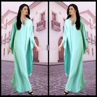 Wholesale Mint Maxi - Dubai Kaftans Abaya Jalabiya Ladies Maxi Dress 2015 Vestido De Festa Mint Beaded Evening Arabic Dresses For Party Gowns Dubai Abaya gowns