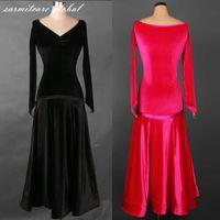 Wholesale Hot Dresses For Women - Blue Black Hot Pink 2 Choices Long Sleeve Customized Women Dresses for Ballroom Dancing Tango Waltz Fox Trot - D008