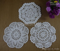 Wholesale Free Doily Patterns - Free Shipping 36PCS Handmade Crochet pattern doily 3 designs cup Pad mat table cloth Pineapple flower Vintage Octagon 17-20cm ab3h65
