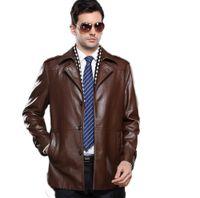 kahverengi katmanlar toptan satış-Güz-2016 Gerçek Resim Sıcak Satış ile Siyah Kahverengi Palto Faux Deri Ceketler Turn Down Yaka Rahat Düğmeleri ile Boyutu M / L / XL / XXL