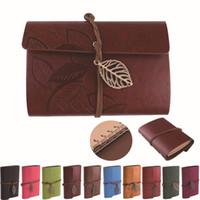 cadernos em couro venda por atacado-Atacado-Retro Folha Pingente Faux Leather Cover NoteBook Diário de Viagem Caderno Sketchbook Bound Diário