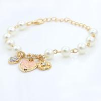 Wholesale Korean Women Beaded Bracelets - 2015 hot sale Korean style Heart flower letter D pendant bracelet Charm pulseira Beaded bracelets for women free shipping