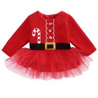 vestido de santa navidad rojo niños al por mayor-Ropa de navidad Niña recién nacida Vestido de manga larga rojo Navidad Santa Claus Vestidos de tul Trajes para niños Traje Princesa caliente Vestido de fiesta Tops